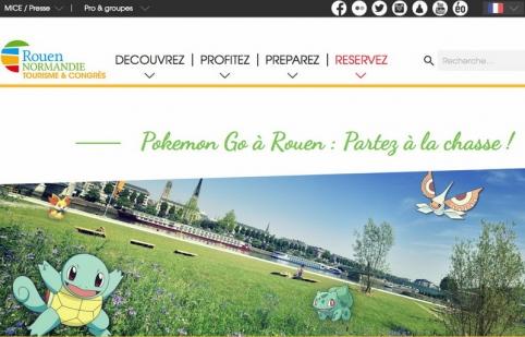 La page d'accueil du site de l'office de tourisme de Rouen veut surfer sur cet engouement pour les Pokemon