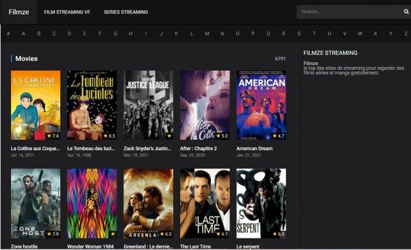 Filmze, un site de streaming en français